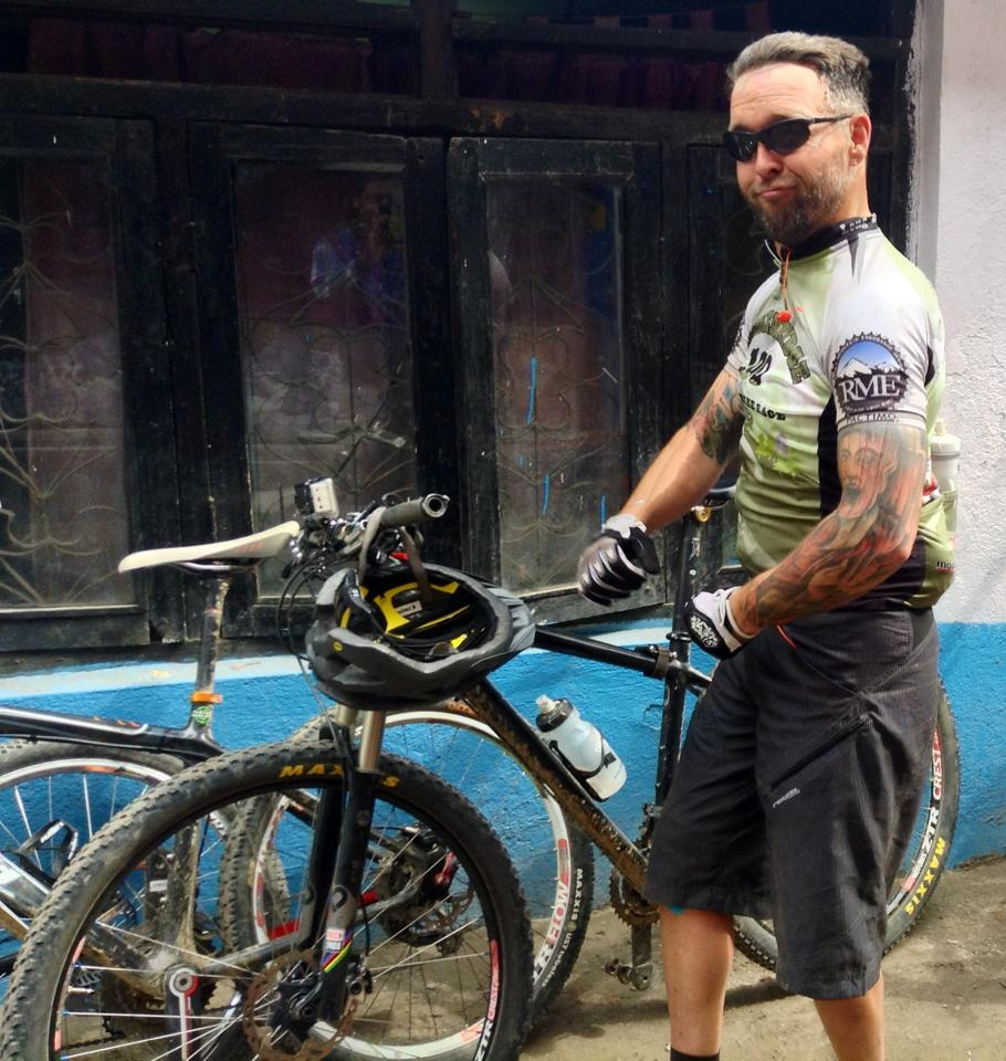 Post ride muggin' at Himalayan Single Track- best shop in Kathmandu