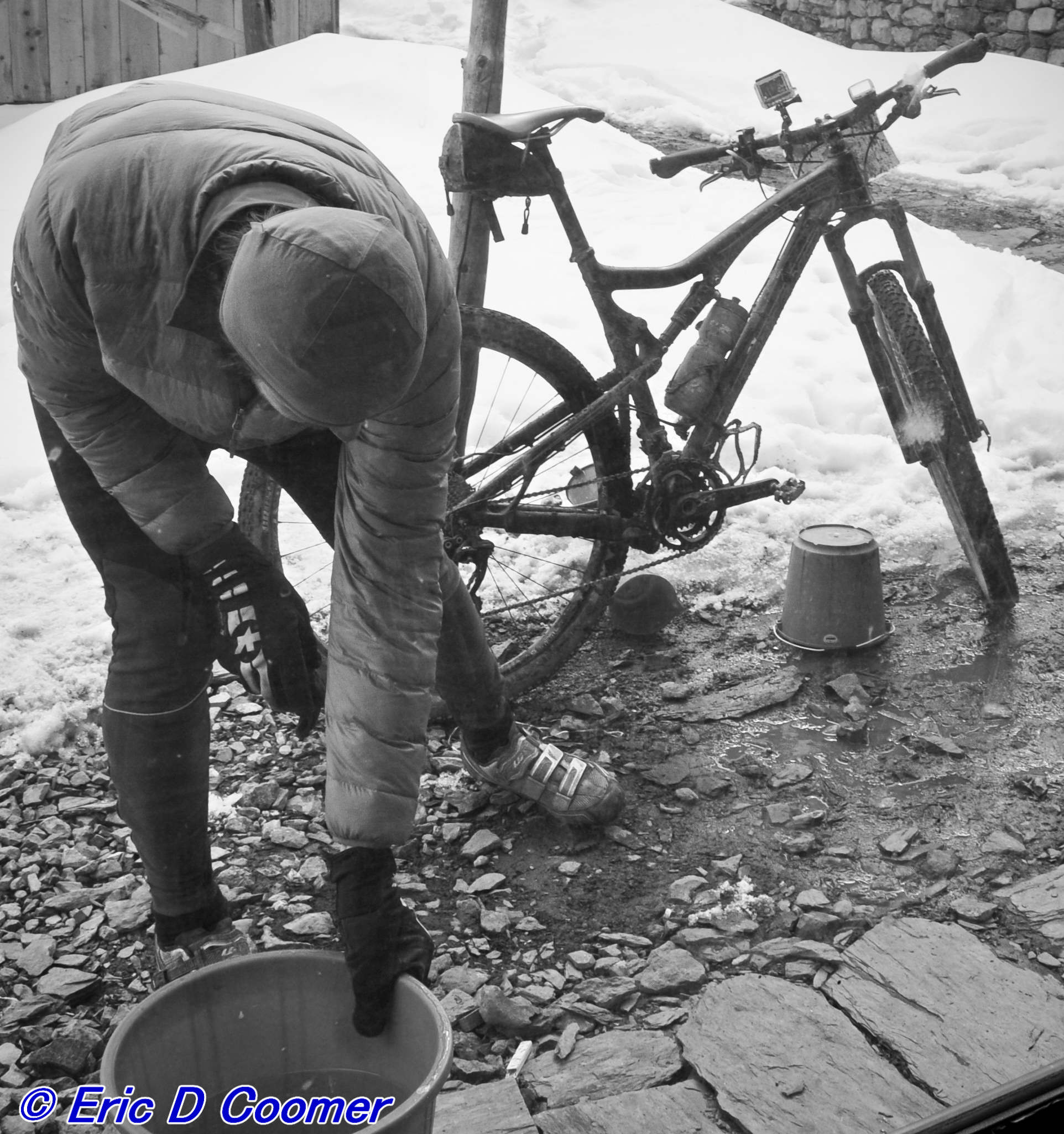 Bike cleaning at 14,500'... My friend here did not have Pro Towels, and i didn't have any more to spare